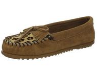 Minnetonka Women's Leopard Kilty Moccasin - Taupe/Size 6