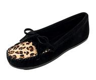 Minnetonka Women's Leopard Kilty Moccasin - Black/Leopard, Size 7