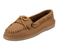 Minnetonka Women's Moosehide Fringed Kilty Moccasin - Natural Moose