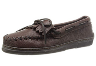 Minnetonka Women's Moosehide Fringed Kilty Moccasin - Chocolate