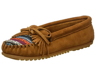 Minnetonka Women's Kilty Suede Moccasin - Brown