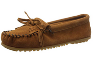 Minnetonka Women's Kilty Suede Moccasin - Dusty Brown