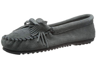 Minnetonka Women's Kilty Suede Moccasin - Storm Blue