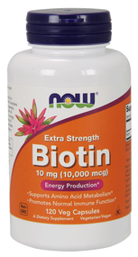 NOW Foods Biotin 10 mg (10,000 mcg) 120 Vcaps 0479