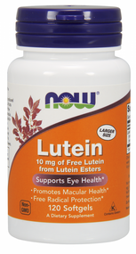 NOW Foods Lutein 10 mg Free Lutein from Esters 120 Sg 3057