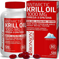 Bronson Antarctic Krill Oil 1000 mg with Omega-3s EPA, DHA,  120 Softgels (60 Servings)