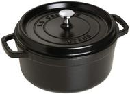 Staub 1102425 Cast Iron Round Cocotte, 4 Qt, Black Matte