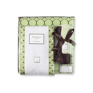 Swaddle Designs Baby Gift Set with Swaddling Blanket,Baby Lovie and Set of Burpies in Clear Plastic Box-Lime Green Mod Circl