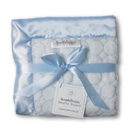 Swaddle Designs Stroller Blanket Pastel Blue Fuzzy Puff Circle