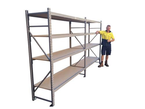 long span shelving - 4 Shelves- 3.6m Wide