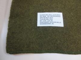 Military Surplus Wool Blanket ODG 66x84 Used Like New