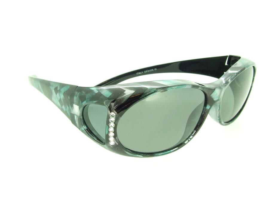FIT OVER RHINESTONE PRESCRIPTION GLASSES SUNGLASSES COVER ALL DRIVE WRAP AROUND