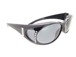 Sunglasses Over Glasses Polarized UV400 Black Frame - Gray Lenses with Crystals Front and Side