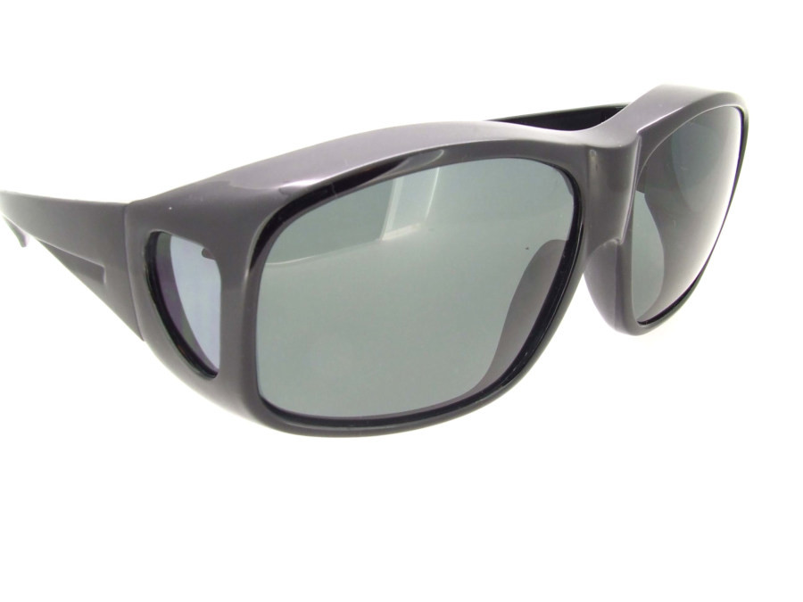 07aa0e8b2be Loading zoom. XL Sunglasses Over Glasses Polarized UV400 Shiny Black Frame  - Gray Polarized Lenses