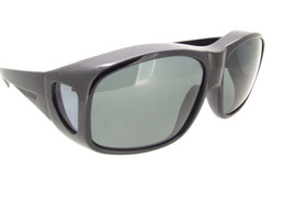 XL Sunglasses Over Glasses Polarized UV400 Shiny Black Frame - Gray Polarized Lenses