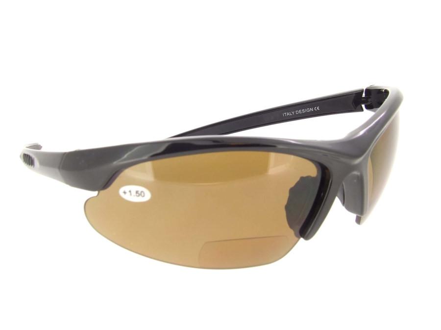 ddd3b321cd Polarized Bifocal Sunglasses Black Half Frame - Brown Lenses. Loading zoom