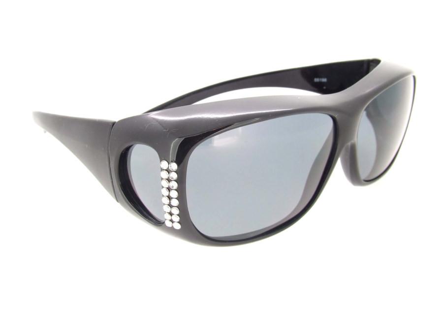 447208ecd1 Sunglasses Over Glasses Polarized UV400 Black Frame - Gray Lenses with  Crystals On Front. Loading zoom