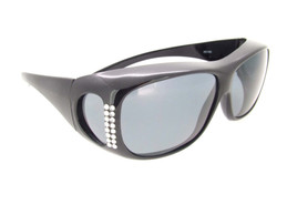 Sunglasses Over Glasses Polarized UV400 Black Frame - Gray Lenses with Crystals On Front