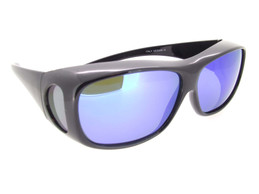 Sunglasses Over Glasses Polarized Black Frame - Blue Mirrored Polarized Lenses