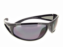 Wrap Around Sunglasses Black Frame Gray Lenses