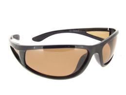 Wrap Around Polarized Sunglasses Black Frame Brown Lenses