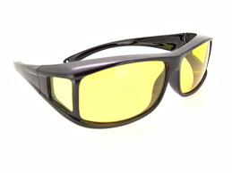 Yellow Lenses Black Frame Fit Over Sunglasses FO77Y