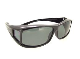 Sunglasses Over Glasses Shiny Black Frame - Gray Polarized Lenses