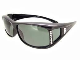Shiny Black Crystal Frame - Gray Polarized Lenses