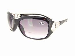 Classy Bifocal Sunglasses Black Frame Gray Lenses