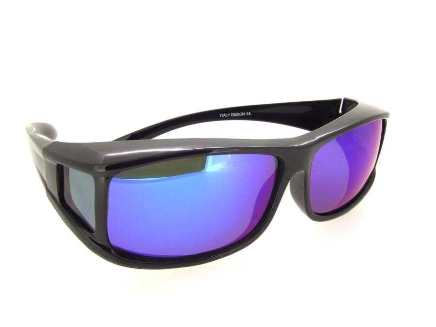 aa538338d5 Loading zoom. Sunglasses Over Glasses Black Frame - Blue Mirror Face Gray  UV400 Polarized Lenses