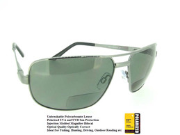 Gun Metal Frame - Gray Polarized UV400 Bifocal Lenses