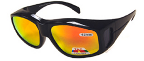 Sunglasses Over Glasses Black Frame - Red Sunburst Mirror Face Gray UV400 Polarized Lenses
