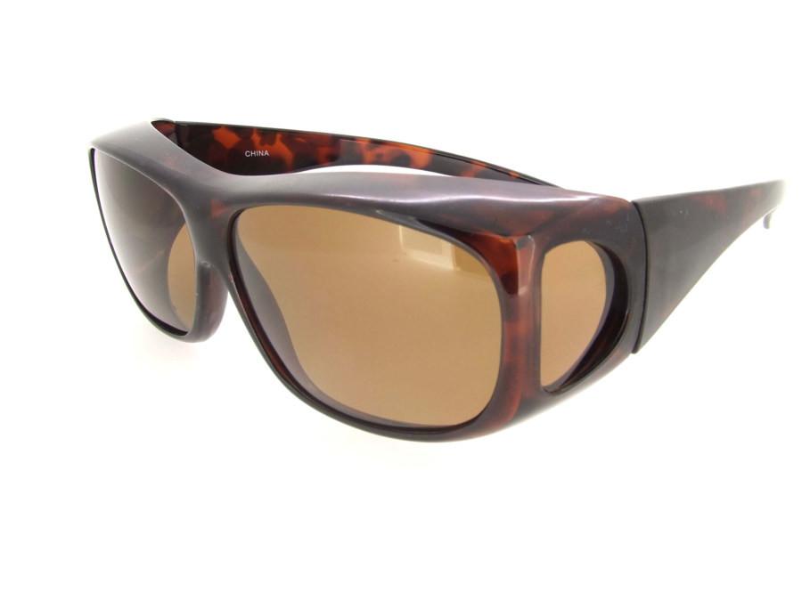 87c75c4821 Sunglasses Over Glasses Polarized UV400 Tortoise Frame - Brown Lenses.  Loading zoom