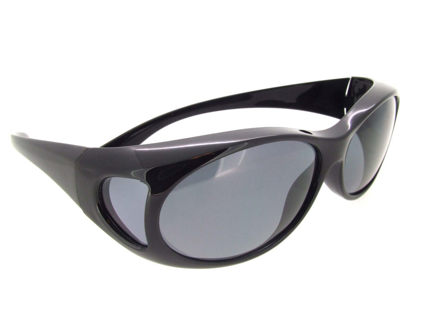 0d0ab2a59f11d Sunglasses Over Glasses Polarized UV400 Black Frame - Gray Lenses. Loading  zoom