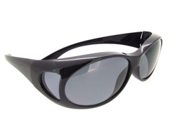 Sunglasses Over Glasses Polarized UV400 Black Frame - Gray Lenses