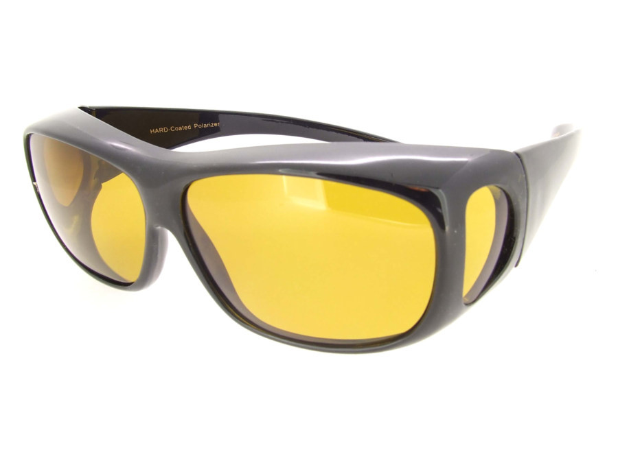 a446f66814e Sunglasses Over Glasses Polarized UV400 Black Frame - Yellow Lenses.  Loading zoom
