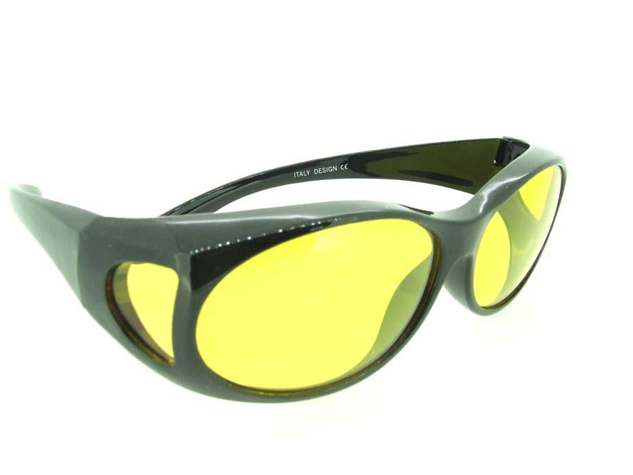 4ffd4ae5bd760 Sunglasses Over Glasses Polarized UV400 Black Frame - Yellow Lenses. Loading  zoom