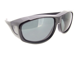 Large Sunglasses Over Glasses Polarized UV400 Black Frame - Gray Lenses