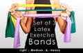 LATEX EXERCISE BAND SET : THREE BANDS: EASY, MEDIUM & HEAVY RESISTANCE