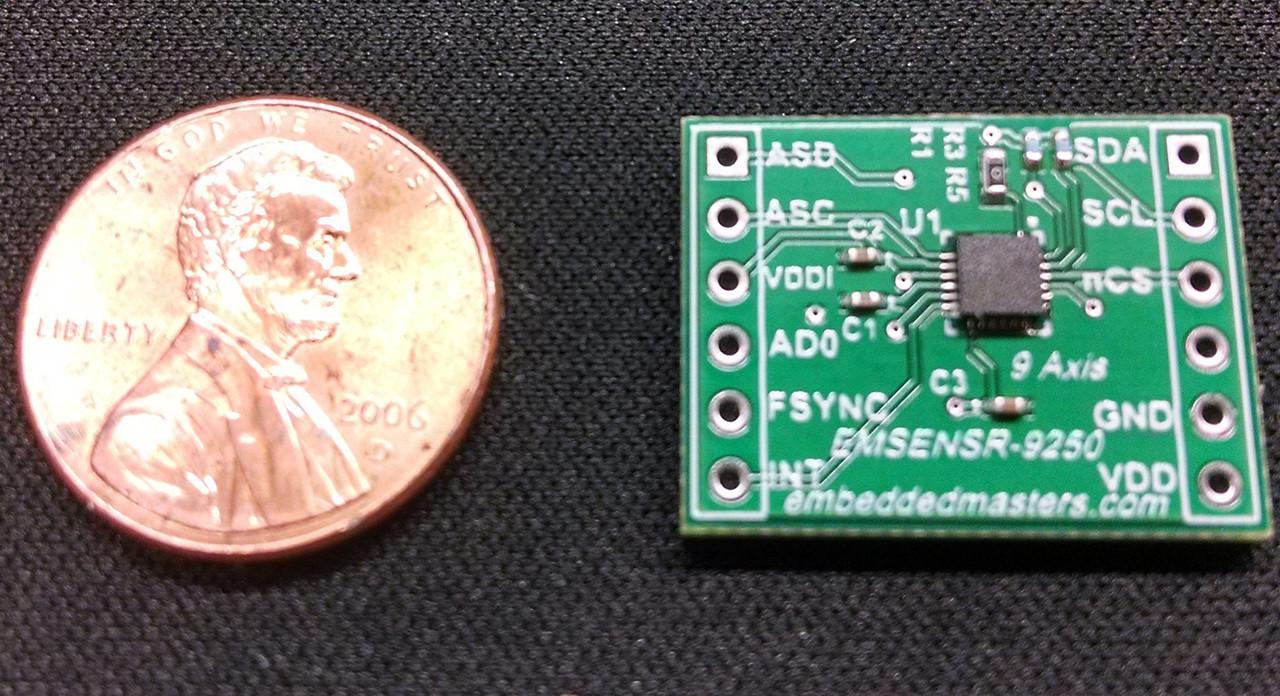 Embedded Masters MPU-9250 9-Axis (Gyroscope + Accelerometer + Compass)  Sensor Breakout Board