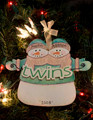 Twins Snowman Personalized Ornament