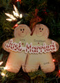 Just Married Gingerbread Personalized Christmas Ornament
