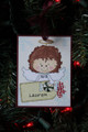 Red Hair Angel with Peppermint Christmas Ornament with Tag