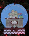 Gingerbread Family of 3 Making Cookies Personalized Christmas Ornament