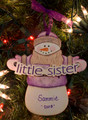 Little Sister Snowman Personalized Ornament