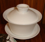 Gaiwan - Ceramic, White Elegance Design - 100ml cap.