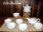 Tea Set - Ceramic, Crackleware Design - 1 Gaiwan, 1 Pitcher, 6 Cups in Gift Box