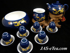 Tea Set - Golden Dragon Design - Teapot, Pitcher, Tea Bowl, 6 Drinking Cups, 6 Sniffing Cups in Gift Box