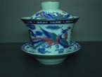 Gaiwan - Porcelain, Traditional Dragon & Phoenix Design - 150ml cap.
