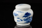 Tea Storage Canister (Porcelain) - Blue Landscape Design - 100g cap.